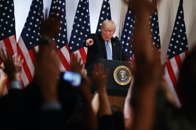 President Donald Trump calls on a reporter during a news conference on Wednesday.