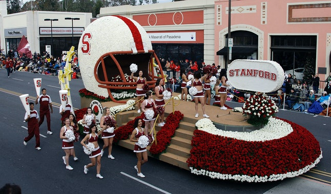 Stanford University football team's float at the 2013 Rose Parade