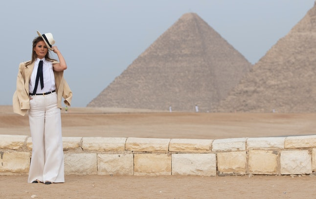 Melania Trump tours the Egyptian pyramids and Sphinx in Giza, Egypt, October 6, the final stop on her four-country tour through Africa.