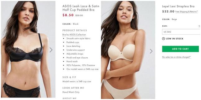 An Asos 34A bra (left) and an Asos 34G bra (right)