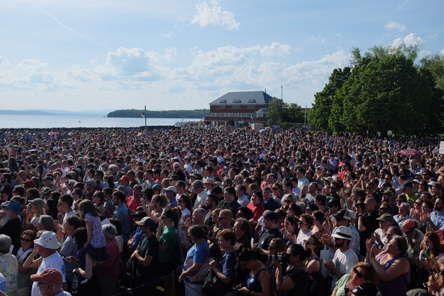 The crowd on hand for the Sanders rally.