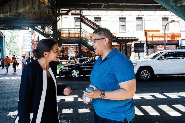 Kerri Evelyn Harris canvassing with Alexandria Ocasio-Cortez in Queens, New York.