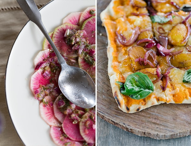 "Watermelon radish salad and ""fiyah"" grilled pizzas"