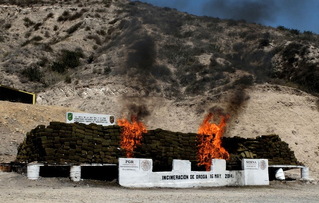 Confiscated cannabis ablaze