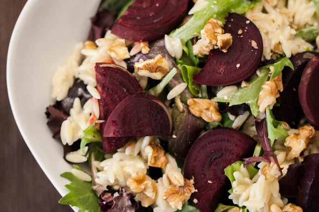 Roasted beet and orzo salad