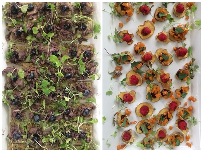 LEFT: Wild Rice Flatbread and Turkey; RIGHT: Dried Sweet Potato - Raspberry