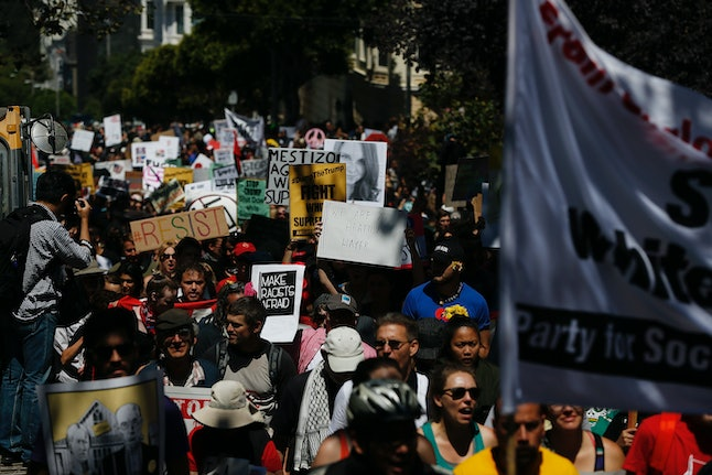 Anti-racist protesters march through the streets of San Francisco.