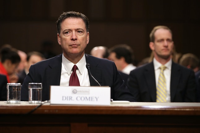 Former FBI Director James Comey testifies before the Senate Intelligence Committee on June 8.
