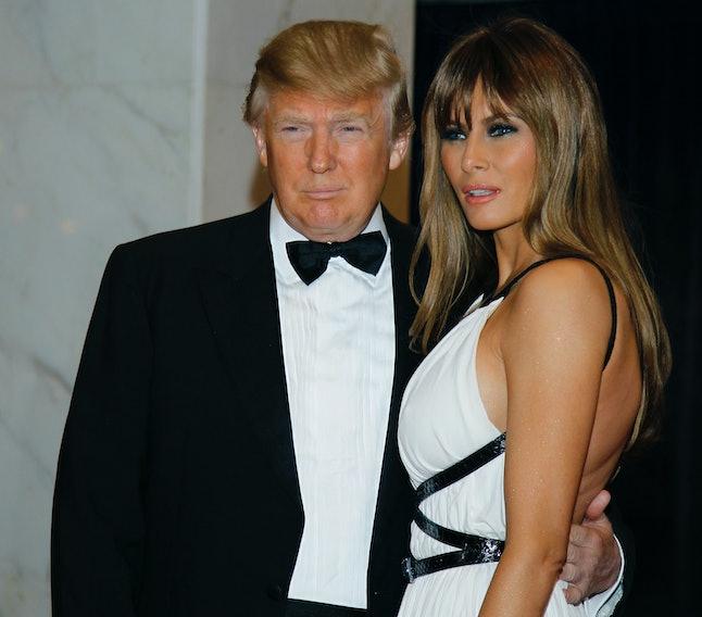 Donald Trump and Melania Trump enter the 2011 correspondents' dinner.
