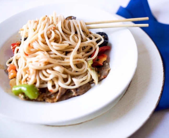 Laghman hand-pulled noodles with beef from Jahunger, where the food is inspired by Western Chinese cuisine