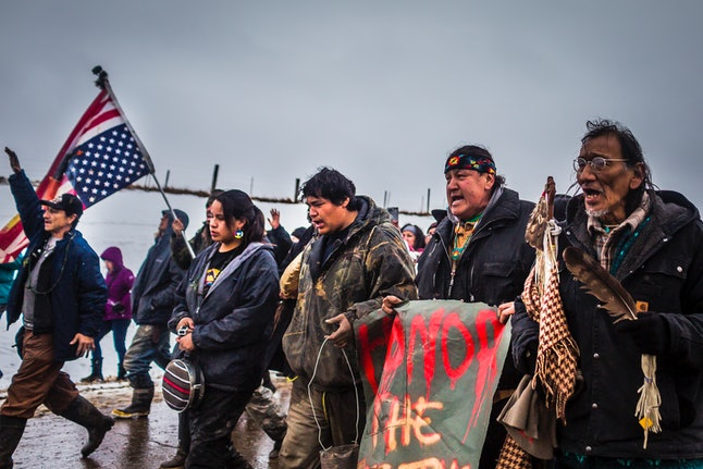 Protestors in North Dakota, protesting the Dakota Access pipeline near Standing Rock Reservation.