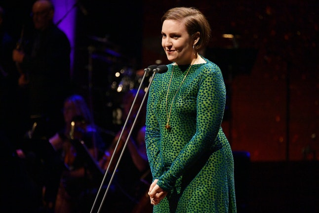 Lena Dunham speaks onstage during Lincoln Center's American Songbook Gala at Alice Tully Hall on May 29 in New York City.