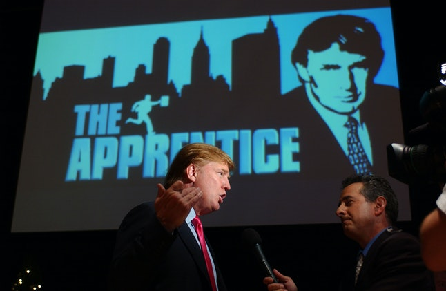 Trump on a press tour for the first season of 'The Apprentice.'