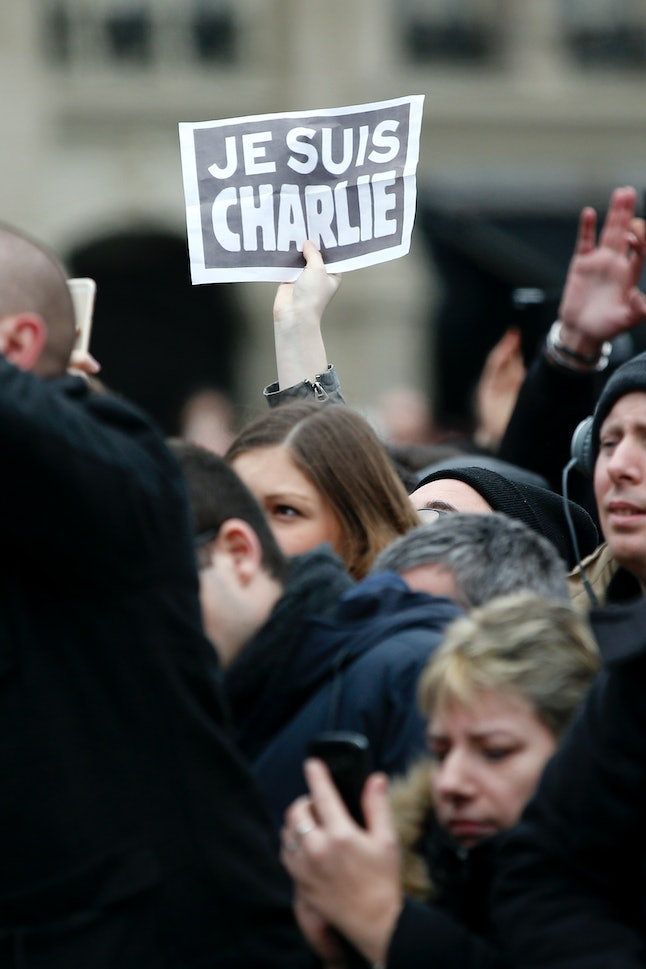 """Je suis Charlie,"" meaning ""I am Charlie,"" was the slogan supporters of the publication used after the attack in January 2015"
