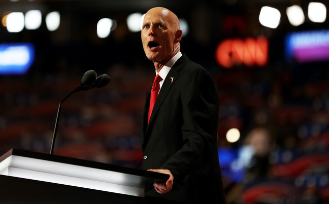 Florida Gov. Rick Scott stumps for President Donald Trump at the Republican National Convention in July 2016.