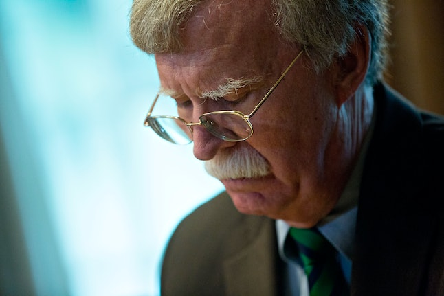 John Bolton attends a meeting at the White House on May 17.