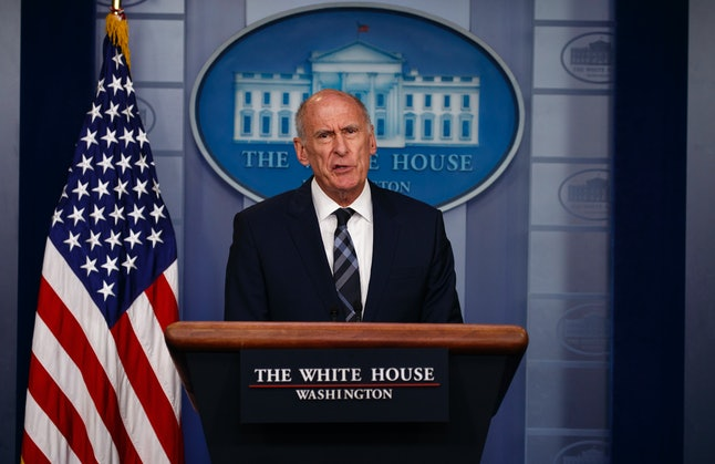 Dan Coats addresses the media during a daily press briefing on Thursday.