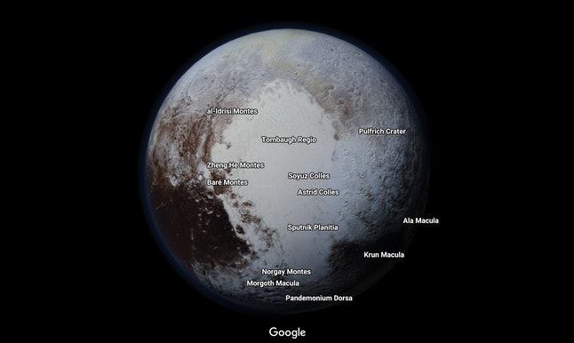 Pluto, once categorized as our solar system's ninth planet, in Google Maps
