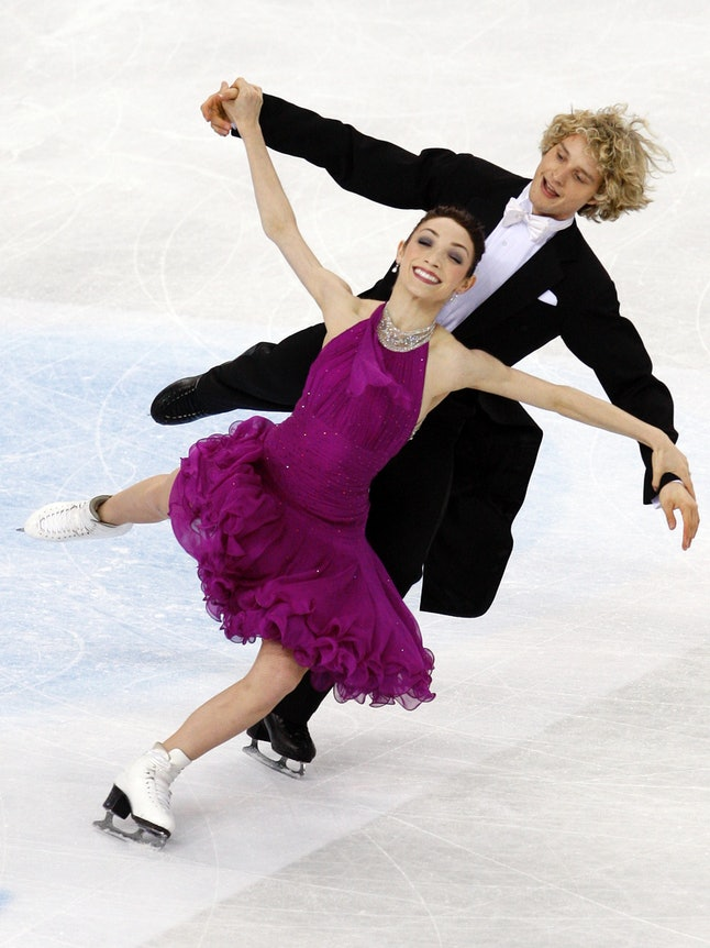 Meryl Davis and Charlie White competing at the World Figure Skating Championships in Turin, Italy