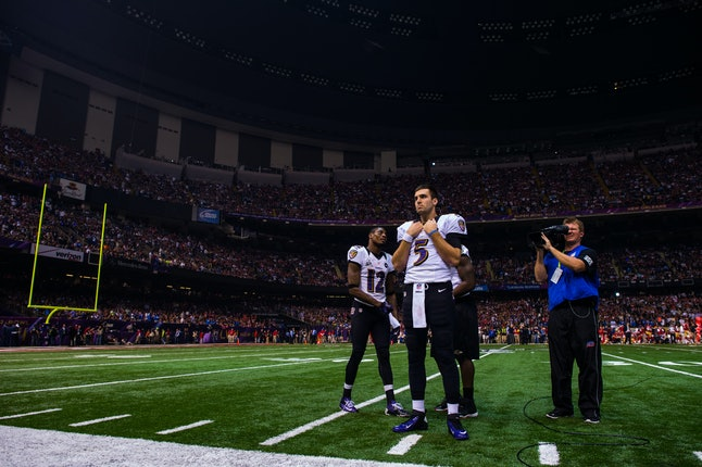 Baltimore Ravens on the field during the 2013 Super Bowl power outage.
