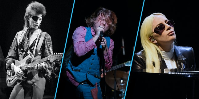 From left to right: his majesty David Bowie, Ty Segall and Lady Gaga