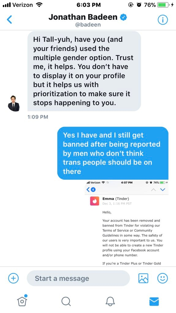 In a Twitter direct message, Tinder co-founder Jonathan Badeen asked whether Tahlia was using the new gender options