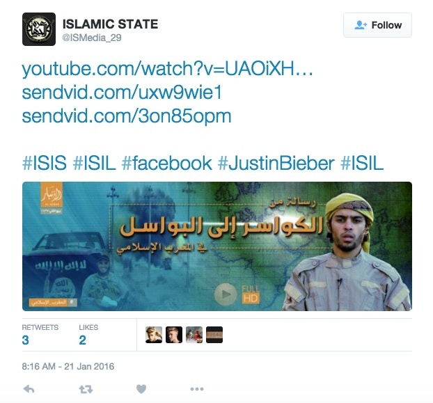An ISIS Twitter Account Hijacked a Justin Bieber Hashtag to