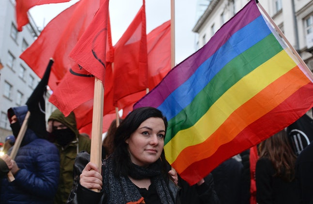 Supporters of the anti-fascist coalition march through the downtown marking Poland's Independence Day, in Warsaw, Poland, on Nov. 11.