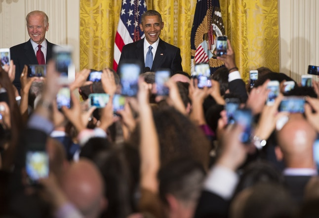 Obama addresses an LGBT Pride Month celebration in the White House in June 2015.