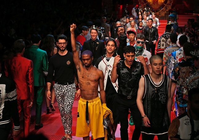Raury during his protest at the Dolce & Gabbana show in Milan