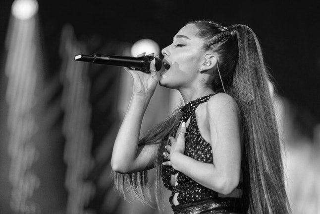 Ariana Grande performs onstage during the 2018 iHeartRadio Wango Tango by AT&T at Banc of California Stadium on June 2 in Los Angeles.