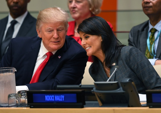 Donald Trump and Nikki Haley speak during a meeting at the United Nations headquarters in New York City in September 2017.