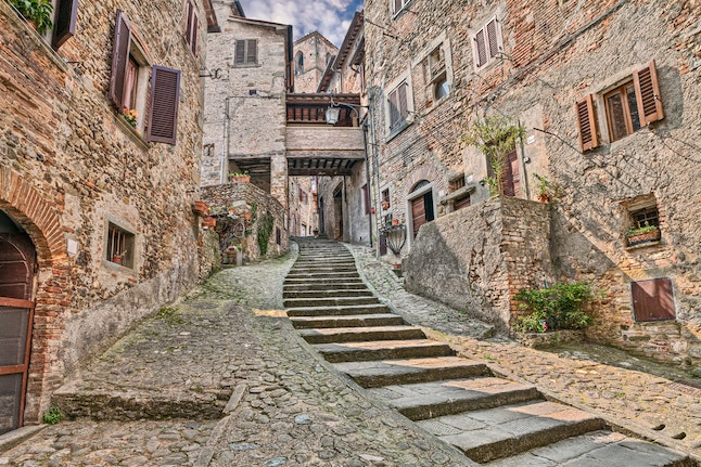 One of the medieval streets of Arezzo, Italy
