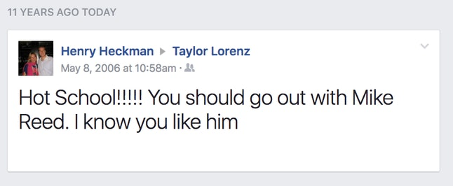 A Facebook Wall post from a simpler time.