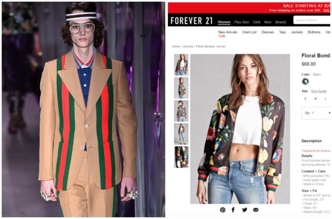 A Gucci model with the green and red stripes (left) and one of the Forever 21 designs that Gucci is alleging copies their stripe pattern (right)