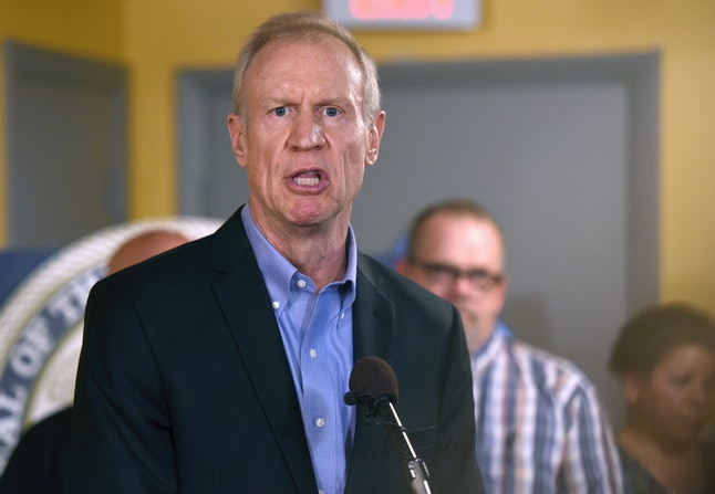 """Gov. Bruce Rauner called the budget passed by Illinois Thursday """"another step in Illinois' never-ending tragic trail of tax hikes."""""""