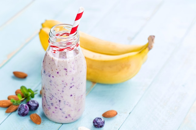 Marijuana infused blueberry banana smoothie with hemp protein