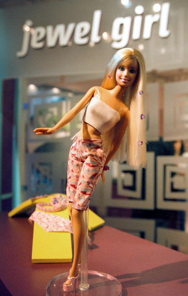 The new Jewel Girl Barbie is displayed by Mattel at the American International Toy Fair, February 14, 2000