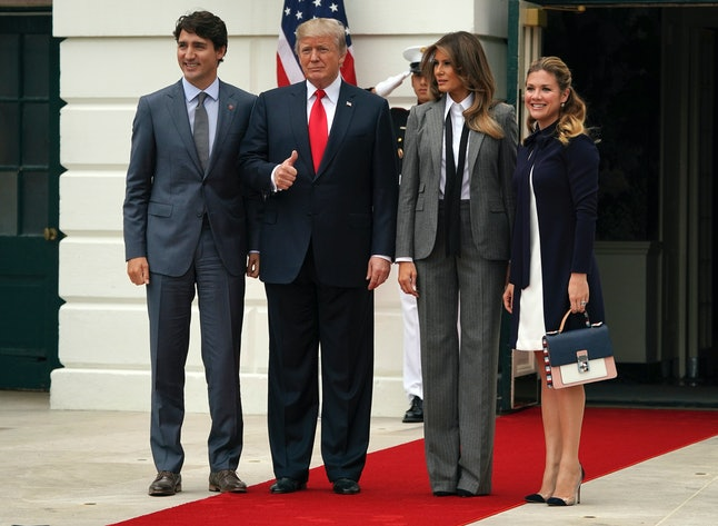 Donald Trump and Melania Trump meet Canadian Prime Minister Justin Trudeau and his wife, Sophie Grégoire Trudeau, at the White House.