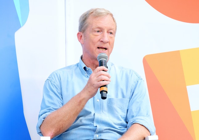 Tom Steyer speaks onstage during OZY Fest 2018 at Rumsey Playfield in Central Park, on July 22 in New York City.