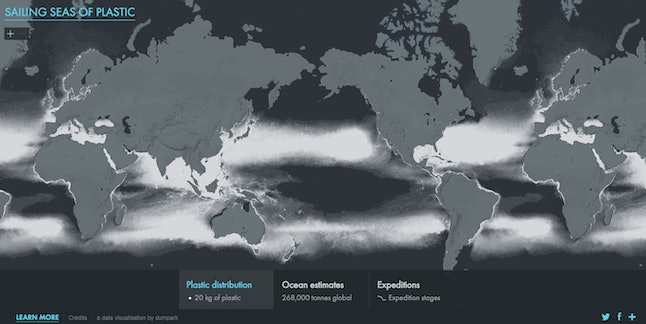 This screenshot of an interactive map shows the concentration of plastic waste in the world's oceans. The waste is represented in white.