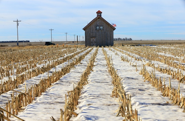 """Anti-pipeline activists built an """"energy barn"""" along the proposed pipeline route through Nebraska."""