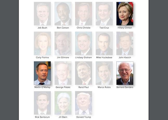 Not pictured: Donald Trump, Jill Stein and Rick Santorum