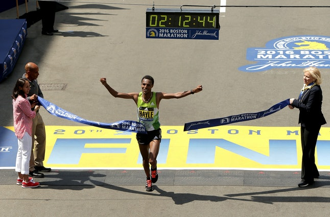 Runner Lemi Berhanu Hayle wins the 2016 Boston Marathon with a time of 2 hours 12 minutes.