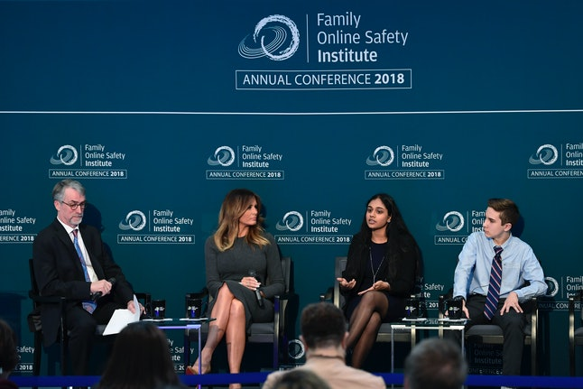 First lady Melania Trump listens during the annual Family Online Safety Institute conference Thursday at the U.S. Institute of Peace in Washington, D.C.