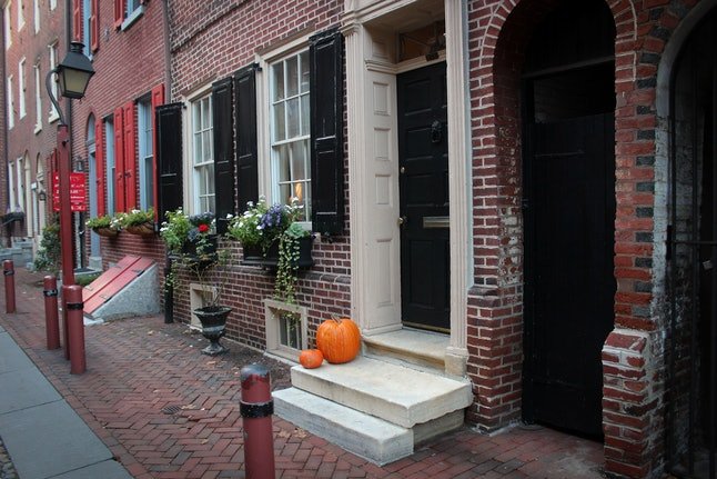 Fall is in the air on this historic street in Philadelphia.