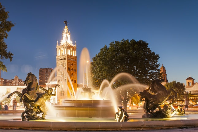 The J.C. Nichols Memorial Fountain, near the Country Club Plaza district of Kansas City