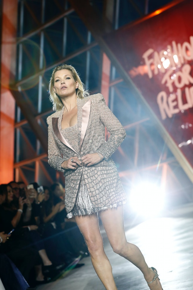 Kate Moss attends the Fashion for Relief runway show.