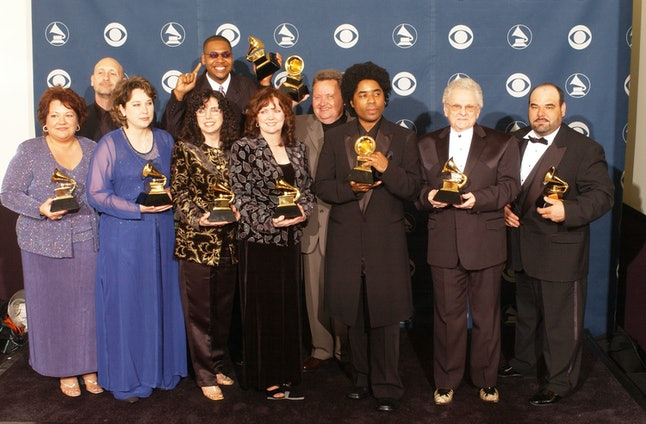 Various artist from the soundtrack to 'O Brother, Where Art Thou' pose backstage during the 44th annual Grammy Awards at the Staples Center on Feb. 27, 2002 in Los Angeles.