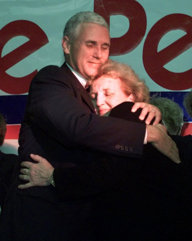 Mike Pence hugs his mother after his speech celebrating his victory in a 2000 race for the House.